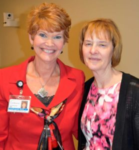 From left to right are Stephanie Reid, vice president of patient care services and chief nursing officer; and April Campbell, Carroll Hospital's 2016 Nurse of the Year.