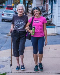 "Darthean's neighbor, Tina Hoff, walks with ""Mama Fox"" every morning to Crossfit to also workout."