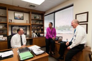 Carroll County Superintendent of Schools, Steve Guthrie, meets with colleagues Jon O'Neal and Chantress Baptist.