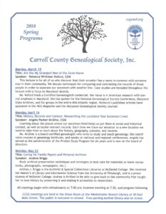 Carroll County Genealogical Society Monthly Meeting and Speaker @ Carroll County Genealogical Society