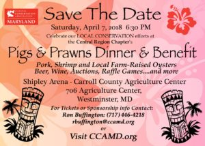 Coastal Conservation Association (CCA) Maryland 3rd Annual Pigs & Prawns Dinner and Benefit @ Carroll County Agriculture Center Shipley Arena |  |  |