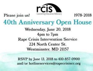 Rape Crisis 40th Anniversary Open House @ Rape Crisis Intervention Service of Carroll County |  |  |